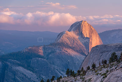 Evening light on Half Dome from Olmsted Point, Yosemite National Park, California, USA. June 2015.