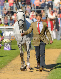 Andrew Nicholson and AVEBURY - The final vets inspection (trot up),  Land Rover Burghley Horse Trials, 8th September 2013.