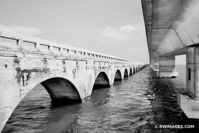 SEVEN MILE BRIDGE FLORIDA KEYS FLORIDA BLACK AND WHITE