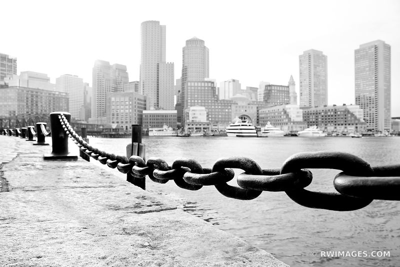 SOUTH BOSTON WATERFRONT VIEW OF ROWES WHARF BOSTON BLACK AND WHITE