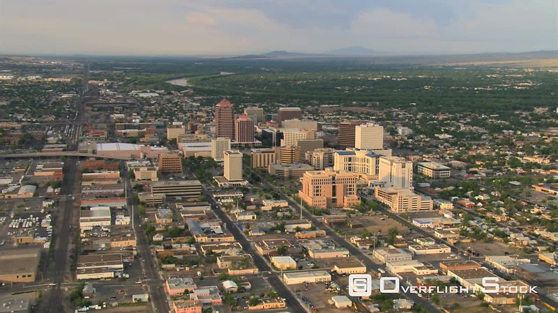 Wide view above Albuquerque looking toward Rio Grande.