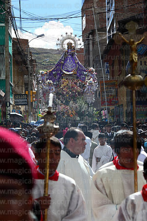 Main procession of the Virgen de la Candelaria through the streets of Puno, Peru