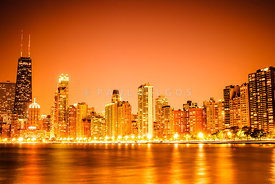 Chicago Skyline at Night with Orange Sky
