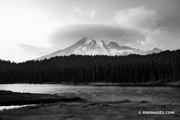 REFLECTION LAKES MOUNT RAINIER NATIONAL PARK WASHINGTON BLACK AND WHITE