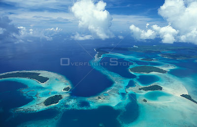 Aerial view of outlying islands, Central Province, Solomon islands, Melanesia