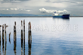 Commercial marine vessel near Angeles point; Strait of Juan de Fuca, Port Angeles, Washington, U.S.A.