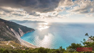 Beautiful view over famous Myrtos beach. Kefalonia, Greek Islands, Greece.