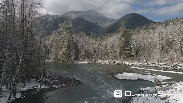 Drone Video Elwha River Washington State in Winter