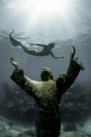 Christ of the Deep 9' bronze statue with mermaid, Pennecamp State Park, Key Largo, Florida