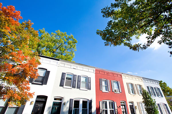 HISTORIC GEORGETOWN ARCHITECTURE WASHINGTON DC COLOR AUTUMN
