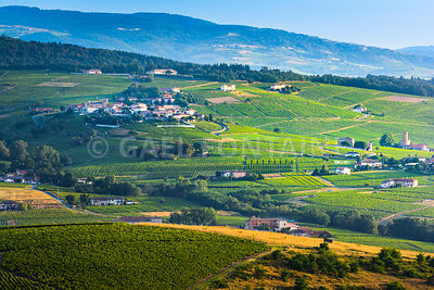 Typical village of Beaujolais land with his vineyards around, France