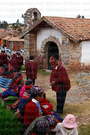 Indigenous leaders outside church after a ceremony, Chinchero, Cusco Region, Peru