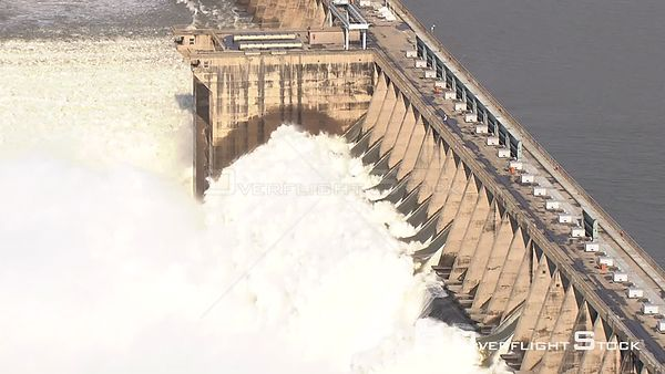 Aerial shot of the flood gates of the vaal dam Bloemfontein Free State South Africa