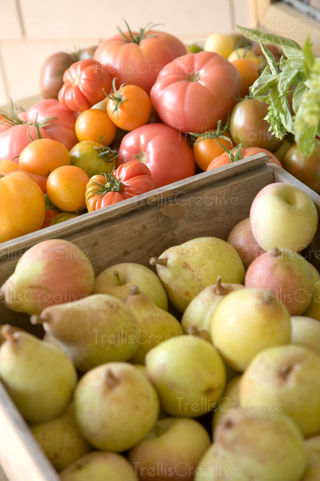 Colorful heirloom tomatoes in wooden crate
