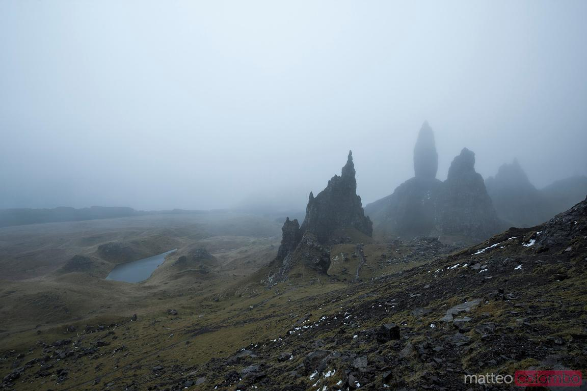 Old man of Storr in the mist isle of Skye Scotland UK