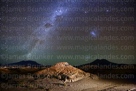 Eroded volcanic rock formation, Milky Way and Magellanic Clouds, Nor Lípez Province, Bolivia
