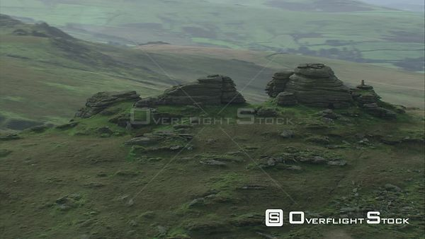 Aerial view of Great Links Tor, Dartmoor National Park, Devon, England, UK, October 2015.