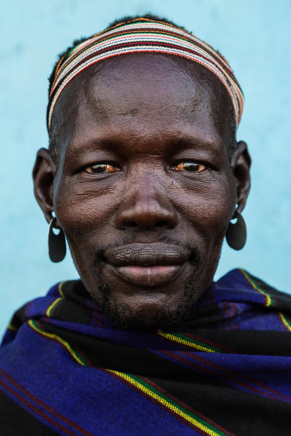 Portrait of a Man from the Mursi Tribe