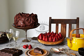 Strawberry and Chocolate cakes