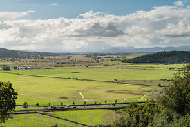 View across the Carse of Stirling to the mountains of Ben Vorlich and Stuc a Chroin, Stirling, Scotland.