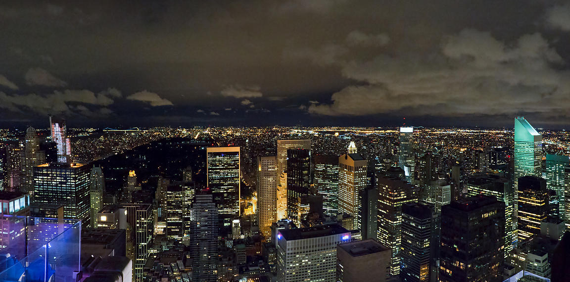 Uptown New York and Central Park at night