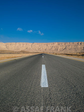 Road with Blue Skies, Vanishing Point, Ramon Crater, Israel