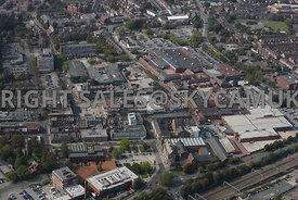 Crewe aerial photograph of shopping and retail centre of Crewe