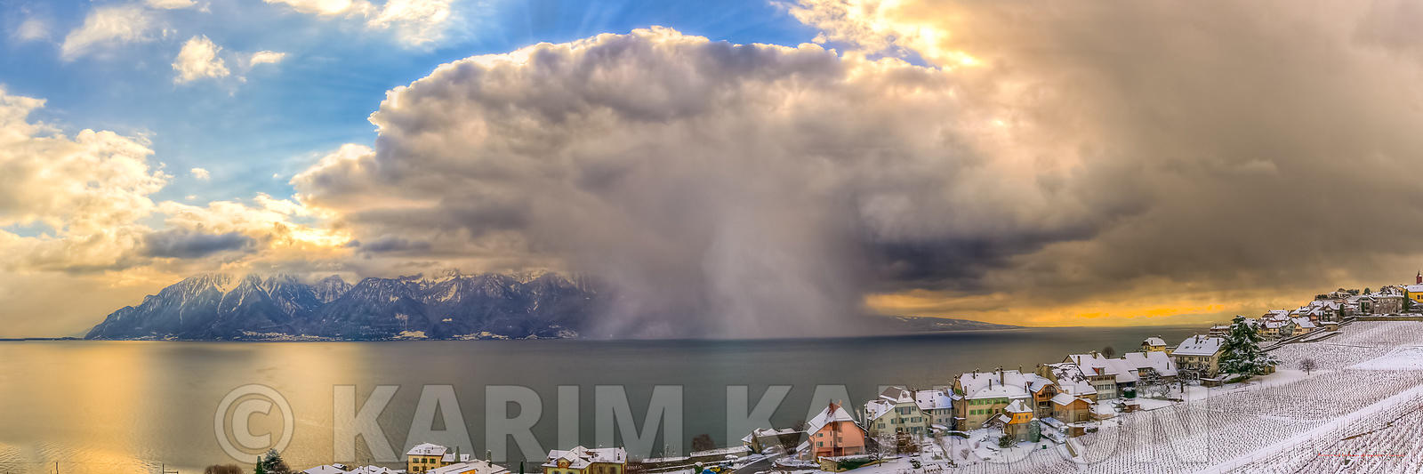 Panorama - Snow storm coming to the vineyards