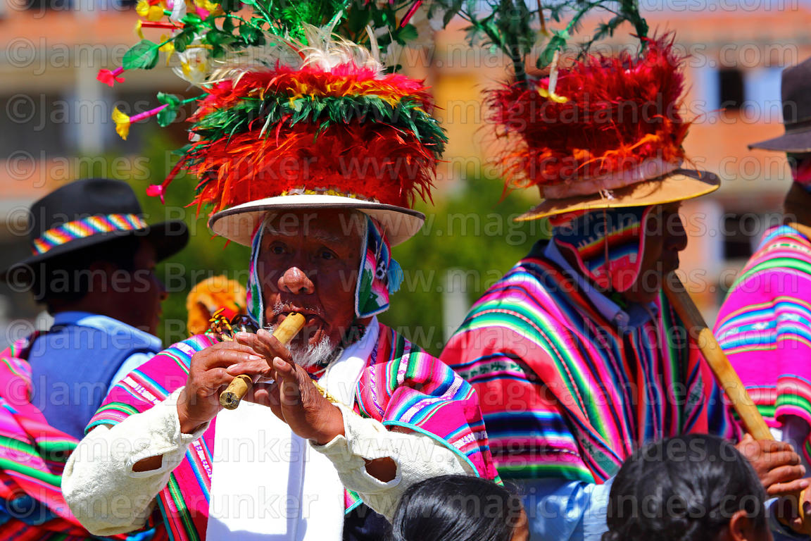 Choquela musicians from Copankana playing pinquillos at festival in Compi Tauca, La Paz Department, Bolivia