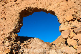 Looking out from a window at Ait Benhaddou, Morocco; Landscape