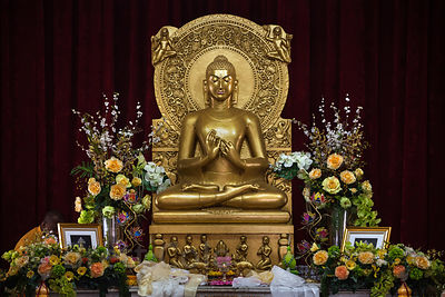 Gold Buddha in a temple in Sarnath, India