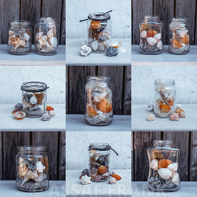 Collage of sea shells in jars