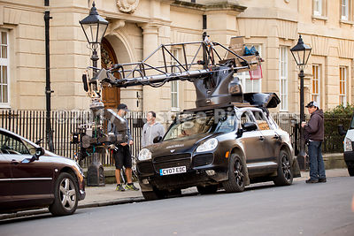 Camera crane car in central Oxford for the filming the 5th Transformers movie, The Last Knight