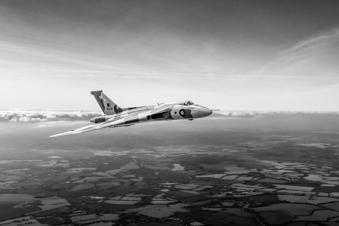 Vulcan in flight 2 black and white version
