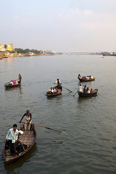 Bangladesh - Dhaka - Water taxi and small boats on the river Buriganga river at  Sadarghat