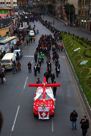 Charismatic Renovation catholic organisation during Good Friday procession, La Paz, Bolivia