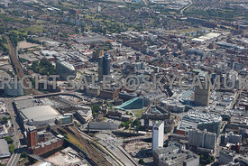 Manchester view of Manchester Arena Victoria Station approach and the National Football Museum and the area of the NOMA regen...