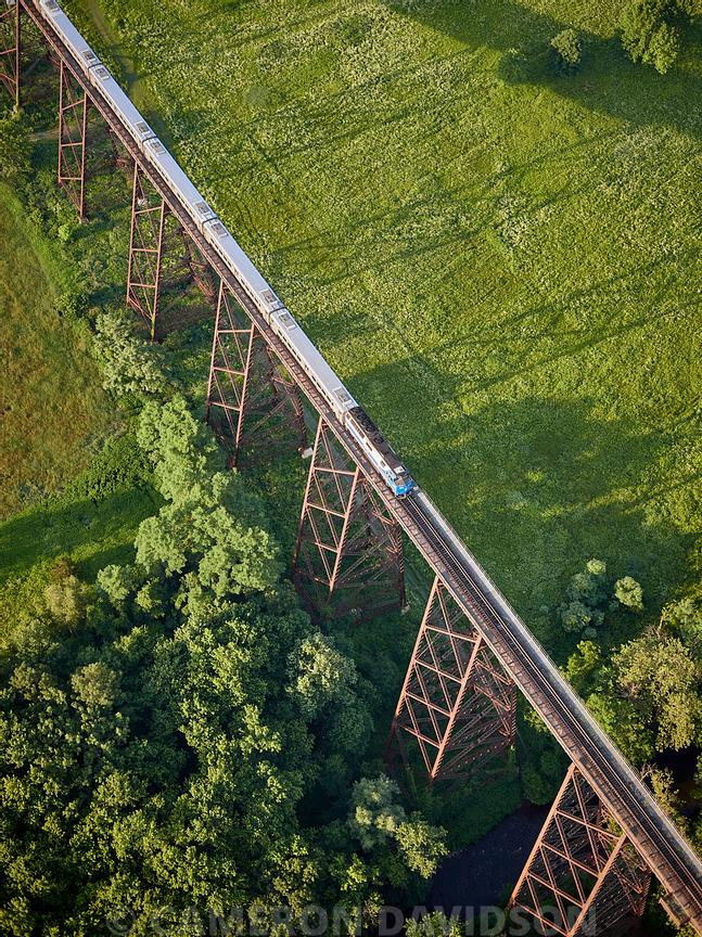 Aerial New York Trestle + Train Tracks