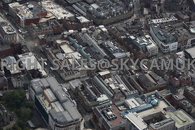 Leeds aerial photograph of the Glass Roofed Victorian Arcades the Victorian Quarter Vicars Lane and Briggate area of Leeds ci...