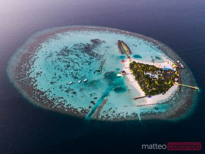 Aerial view of tropical island at dusk, Maldives