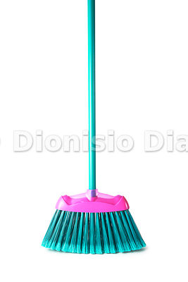 Broom in front position, white background isolated
