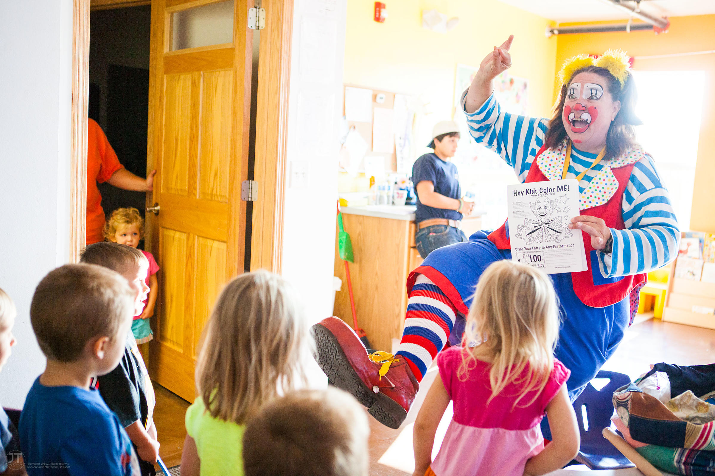 Ms. Skeeter, a clown performer with the Culpepper-Merriweather Great Combined Circus entertains children at the Little Clippe...
