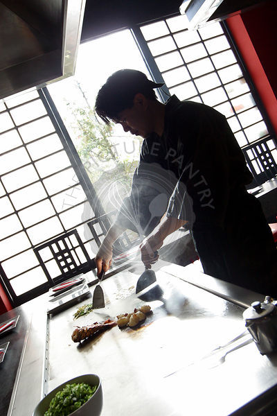 chef, cooking, cultural, culture, food, foreign food, japan, japanese, Japanese Teppanyaki chef in a restaurant, oriental, pr...