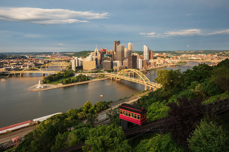 Elevated View of Pittsburgh from the Top of the Duquesne Incline
