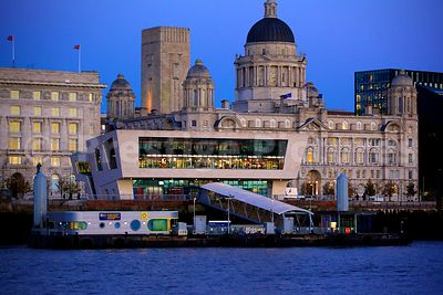 The Mersey Ferry Terminal at Pier Head Liverpool viewed across the Mersey