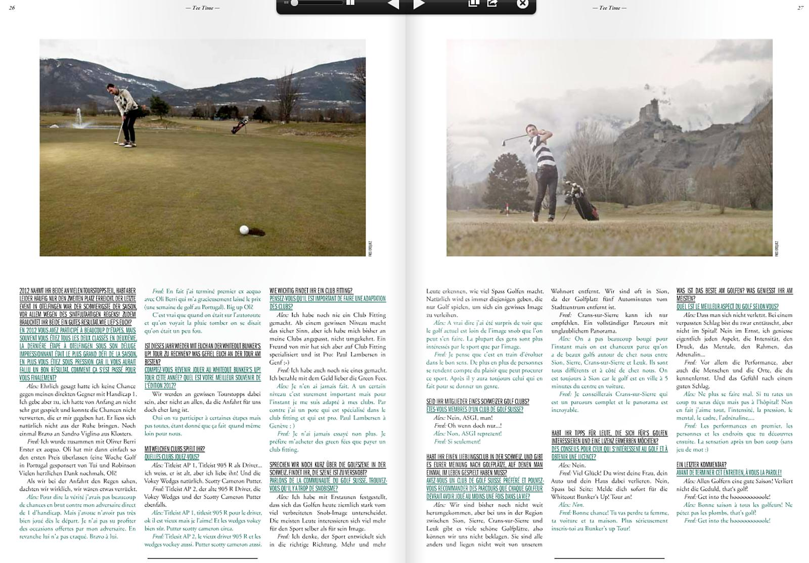 Whiteout Golf magazine - Alex & fred Evéquoz - golf de sion