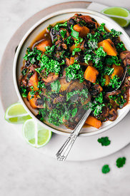 Winter Black Bean Chili with Pumpkin and Kale