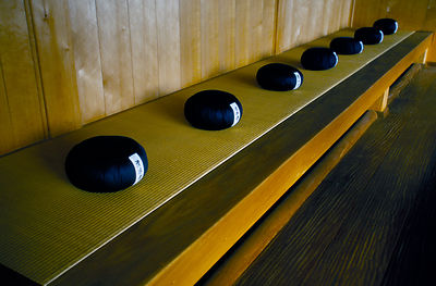 Japan - Hikone - Zafus (meditation cushions) at the Seiryu-ji Temple
