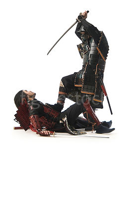Two Samurai warrior fighting- shot from low-level.