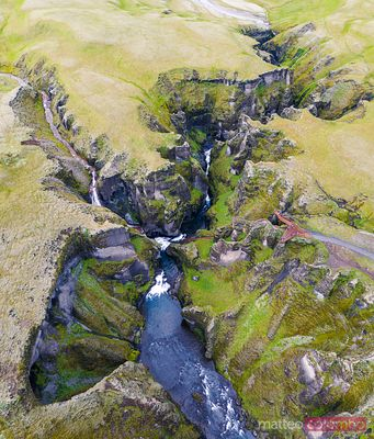 Aerial view of Fjadrargljufur canyon, Iceland
